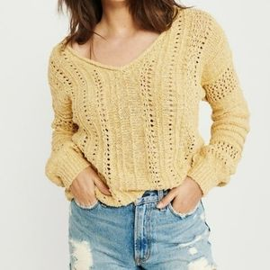 A&F Yellow V Neck Pointelle Sweater